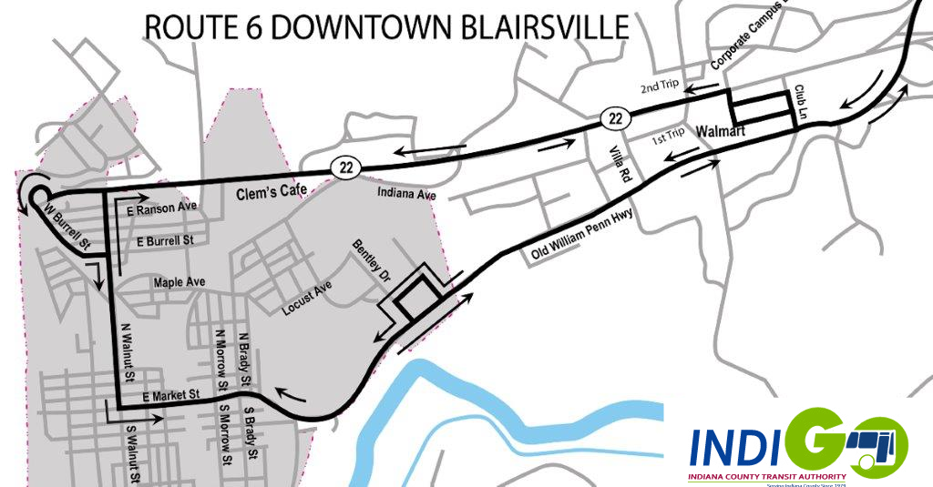 Map - Route 6 - Downtown Blairsville - Click on map to enlarge