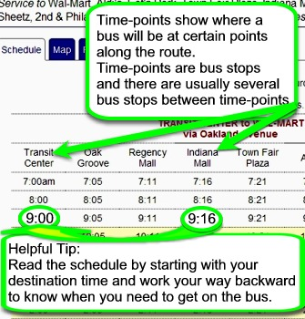 Schedule Tips - How to Read A Bus Schedule