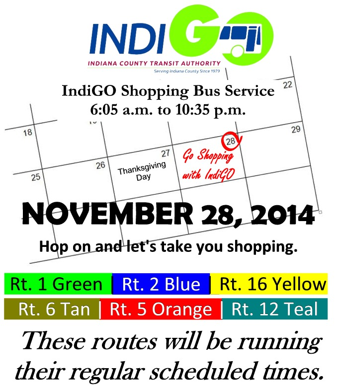 Indigobus Thanksgiving Bus Schedule